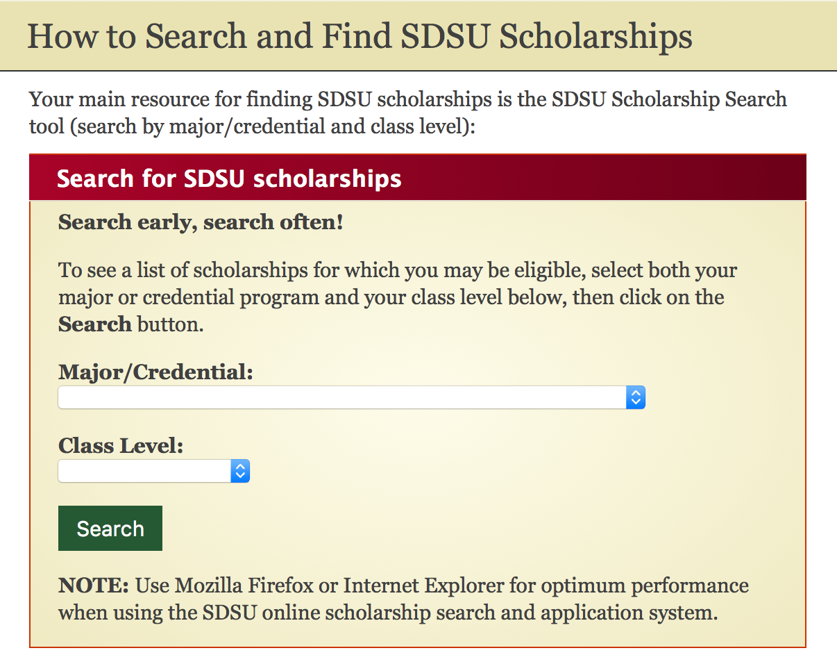Screenshot of how to search for scholarships