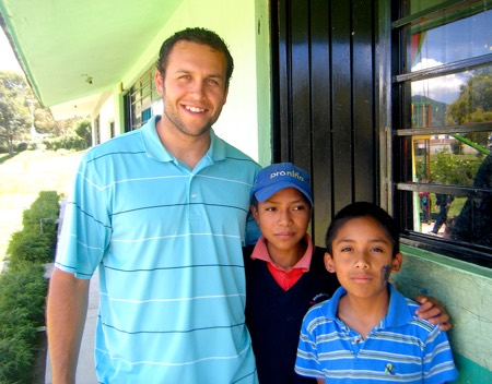 Photo: Daniel Ramirez with students in Mexican school