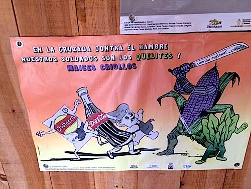 Photo: poster in Spanish shows healthy foods doing battle with junk food