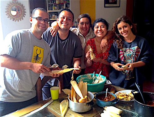 Photo: My Oaxaca host mom and the other immersion participants (Pepe, Bryant, and Karen) who I shared a house with, learning how to make tamales (summer 2015)