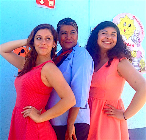 Photo: My partner Karen (bilingual teacher) and I, doing sassy poses with Lili, the teacher we worked with. Last day of Oaxaca immersion (2015).