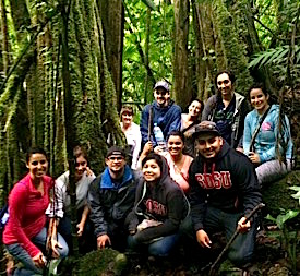 Photo: Group poses during hike in the dense forest