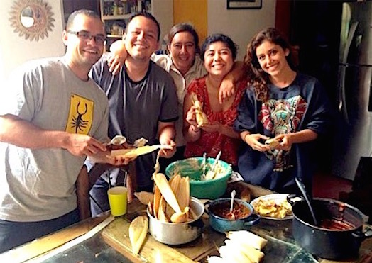 Photo: Homestay group learning to make tamales with host