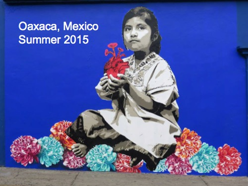 Oaxaca Mexico summer 2015 local girl poses with flowers