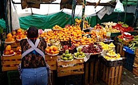 Photo: Local produce vendor in street market
