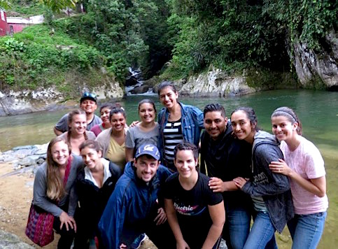 Photo: CLASS EL scholars pose in front of pond on summer immersion in Mexico