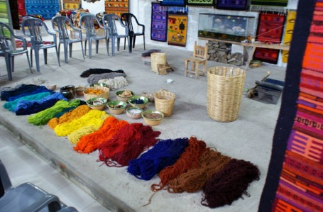 Photo: Weaver's shop with colorful dyed yarn