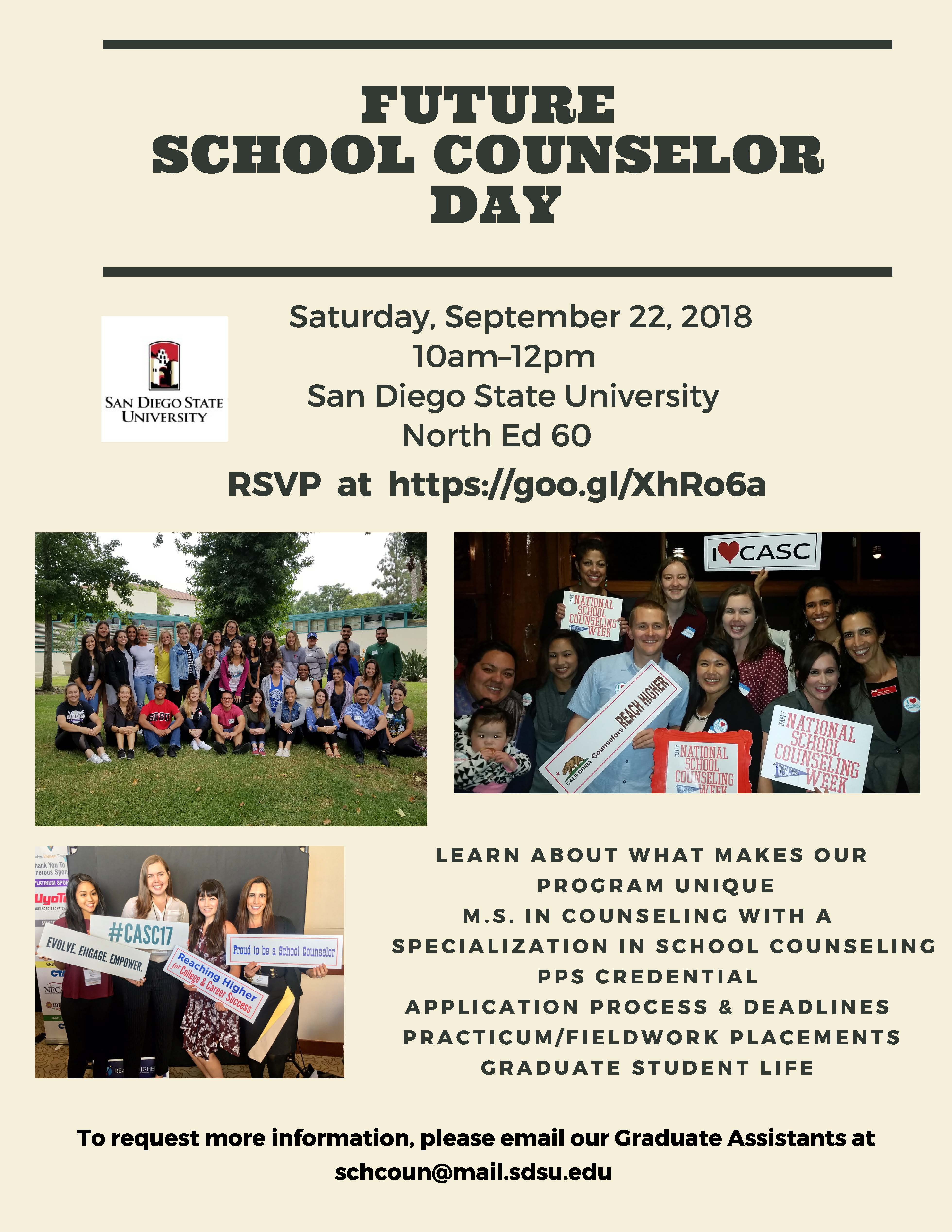 School Counseling Future School Counselor Day 2018 Flyer