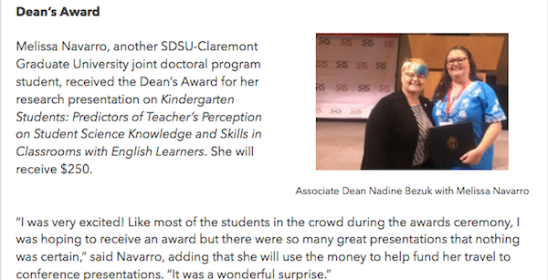 Screenshot of article of Melissa being awarded