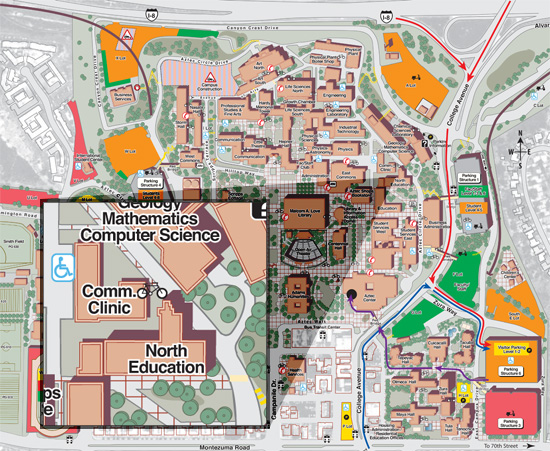 Map of SDSU with North Education building shown on east side of campus