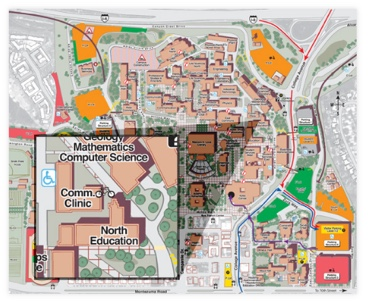 Image: SDSU map with highlight of North Education building