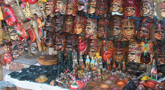 Masks for purchase at the Chichicastenango Market