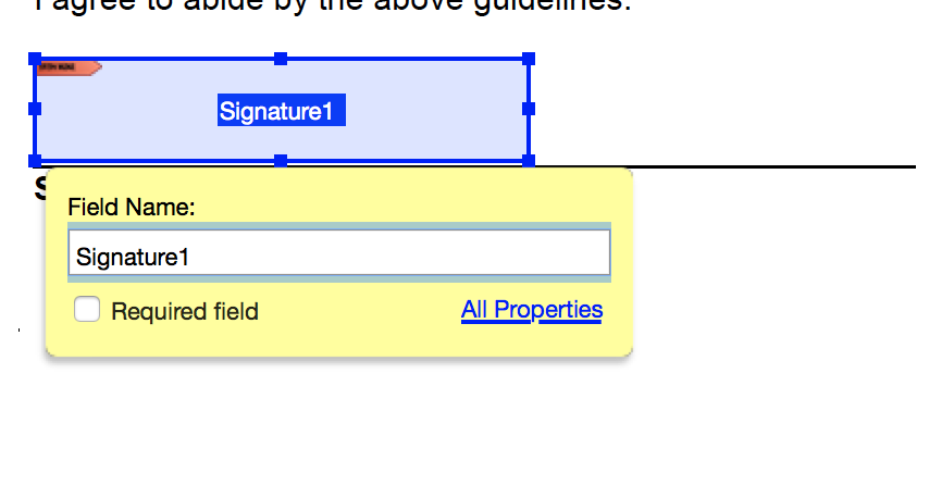 Appropriate signature location and size