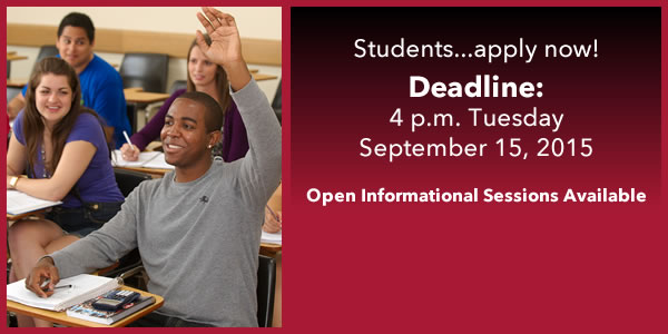 Students...apply now! Deadline: 4 p.m. Tuesday September 15, 2015