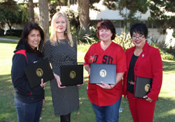 Staff Awards 2013 Group Photo (Pictured here left to right: Elsa Tapia, Marilyn Bredvold, Lisa McCully, Martha Pedroza