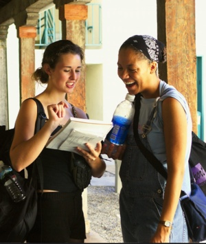 Photo: two students talking