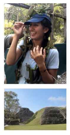 Photo montage: Student poses with local reptiles, pyramids in Mexico