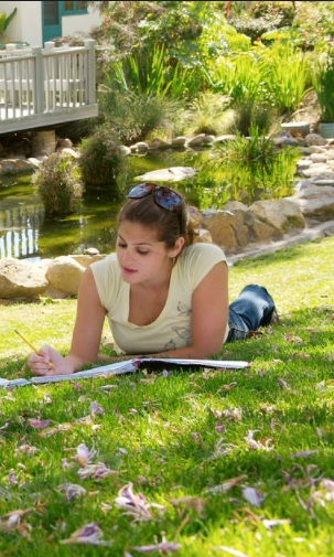 Photo: Student studying near campus pond