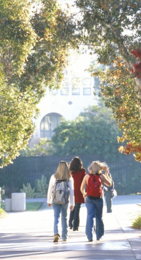 Photo: Students walking on campus pathway