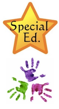 Image: Star with words Special Ed. and multicolor drawing of children's hands