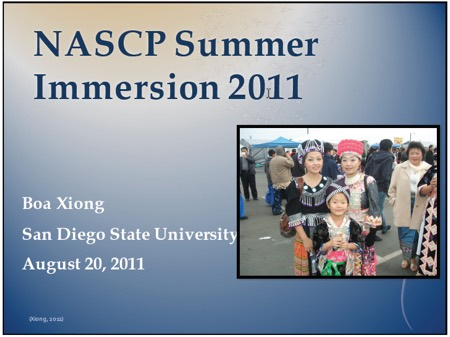 Image: NASCP summer immersion2011 Boa Xiong SDSU August 20 2011