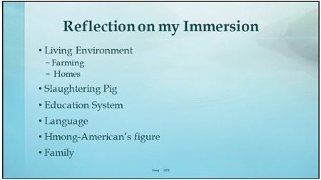 Reflection on my immersion. Living environment: Farming, Homes. Slaughtering pig. Education system. Language. Hmong-American's future. Family.