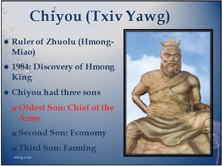 chiyou (Txiv Yawg) Ruler of Zhuoly Hmong-Miao, 1984 discovery of Hmong king, Chiyou had 3 sons, Oldest was chief of the army, second son economy, third son farming