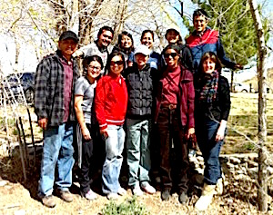 Photo: Larry Emerson, Carol Robinson-Zañartu and Nola Butler-Byrd at Shiprock with cohort group Diego Arias, Alyssa Ashley, Roberta Cruz, Mark Emerson, Mariko Cavey, Marina Oliman