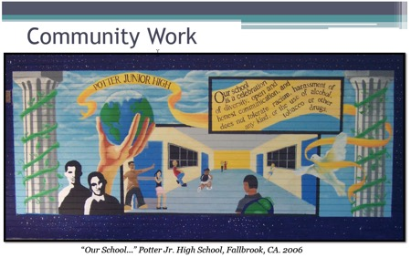 "Image: drawing by Diego ""Our School…"" Potter Jr. High School, Fallbrook, CA. 2006 with words Community Work Our school is a celebration of diversity, open and honest communication, and does not tolerate racism harassment of any kind or the use of alcohol tobacco or other drugs"