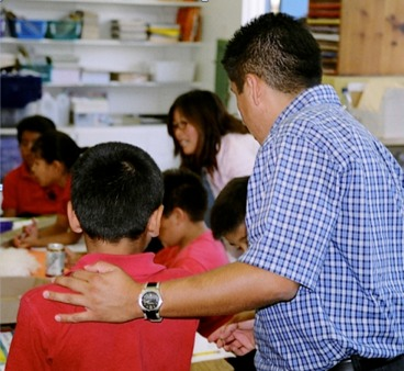 Photo: Helping young students