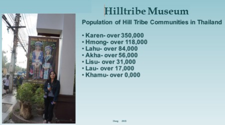 Hilltribe Museum: Population of Hill Tribe communities in Thailand.  Karen Over 350,000. Hmong over 118,000. Lahy over 84,000. Akha over 56,000. Lisu over 31,000. Lau over 17,000. Khamu over 0,000.