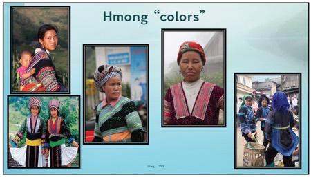 Photo collage: Various tribes people wearing Hmong colors
