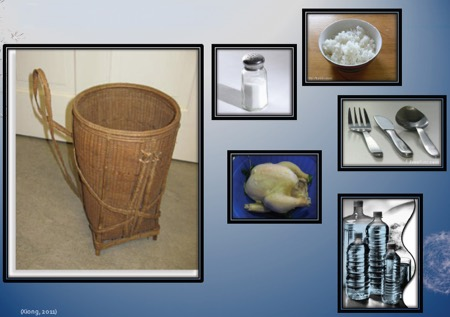 Photos of items including basket, salt, rice, chicken, silverware, water bottles