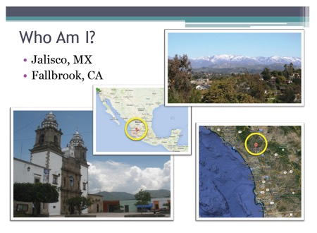 Images and maps of Jalisco Mexico and Fallbrook California