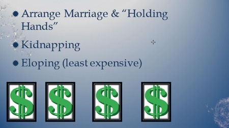 In order: Arranged Marriage and Holding Hands. Kidnapping. Eloping (least expensive)