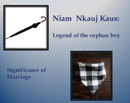Image of umbrella with words Niam Nkauj Jaus: Legend of the orphan boy, Significance of marriage (image of folded cloth)