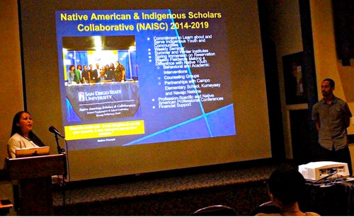 Photo: Project Scholars Tiffany Haswood (Diné) and Jarrett Clifton (African American/Haliwa-Saponi)  presenting at 2015 NIEA, Portland Oregon