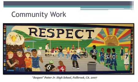 "Image: Community work ""Respect"" Potter Jr. High School, Fallbrook, CA. 2007 Mural by Diego of students at school with sun and the word Respect"