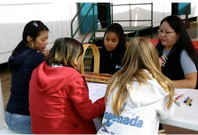 Photo: Teaching student group at table