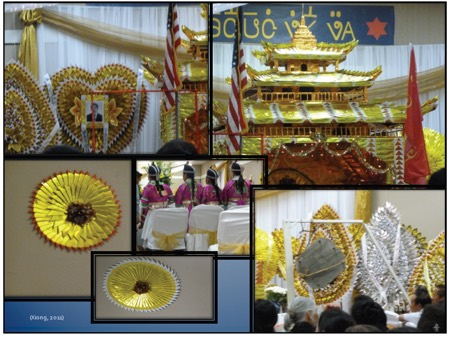 Photos of traditional golden Hmong wedding items
