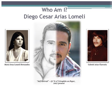 Photos of Diego and his parents with words Who Am I Diego Cesar Arias Lomeli mother Maria Irma Lomeli Hernandez Father Gabriel Arias Chavarin Self Portrait of Diego graphite on paper 2007 to present