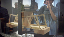 MESA students testing the load on their bridge project
