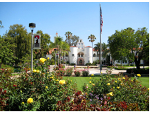 Rose garden in front of Hepner Hall