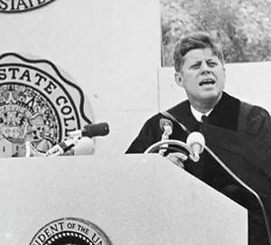 President Kennedy giving the 1963 SDSU Commencement address