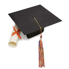 photo of mortar board cap and diploma