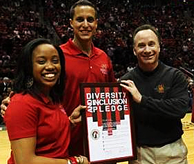 Diversity Pledge Ceremony at Feb. 4 basketball game