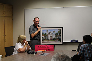 Dr. German receiving his retirement gift