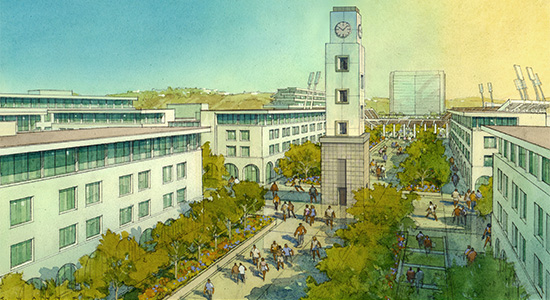 Artist's rendition of the proposed Mission Valley campus.