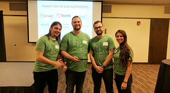 Four SDSU mechanical engineering students developed Recyclinator at SDSU.