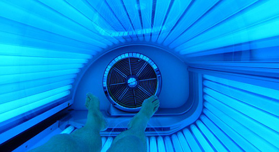 Person inside of a tanning bed